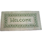 Charming Shabby Primitive Vintage WELCOME Cross-Stitch SAMPLER, Completed