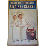 Large Vintage RIVOIRE & CARRET Macaroni Vermicelle ADVERTISING POSTER SIGN, 1969