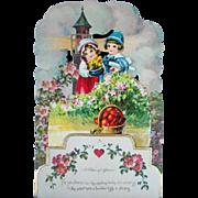 Lovely Vintage Diecut Honeycomb VALENTINE'S DAY Card, Lighthouse, Basket Hearts