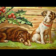 Antique 1900s CHRISTMAS POSTCARD, Dog Series, BAMFORTH, Gilded, Unused