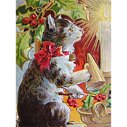 SOLD Adorable Vintage Embossed CHRISTMAS POSTCARD, Kitty Cat & Glowing Candle, Gilded