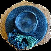 Vintage Women's Black Straw Chip HAT, Fabric Flowers, Netting, MARTHA GENE