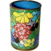 Vintage ENAMEL Cloisonne Floral Match Holder or Toothpick, CHINA