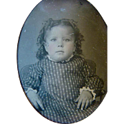 Antique TINTYPE PHOTOGRAPH, Adorable Chubby Little Girl in CALICO DRESS