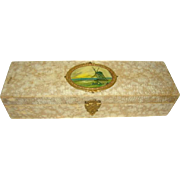 Lovely Antique Lined Glove or Dresser Box, Celluloid Windmill Cartouche
