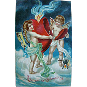 SOLD Beautiful Embossed Antique 1900s VALENTINE POSTCARD, Cherubs & Flaming Heart