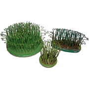 3 Vintage Painted Green Cast Iron & Crinkle Wire FLOWER FROGS, Blue Ribbon