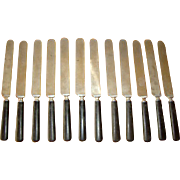 """12 Antique Black CELLULOID Handle Dinner Knives, 10"""" Long, Great With Pewter"""