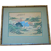 SALE Vintage Bamboo Framed HAND PAINTED On Silk Chinese Pastoral Painting, Signed