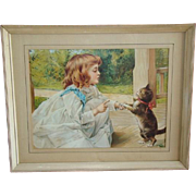 SALE Vintage VICTORIAN Style Lithograph Print, Little Girl Scolding Kitty Cat