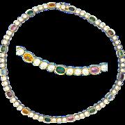 Panetta Rhinestone Necklace Multi Colored Stones