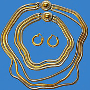 Silvertone & Goldtone Long & Short Necklaces with Earrings