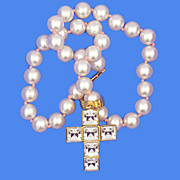 Pink Faux Pearl & Rhinestone Cross Necklace
