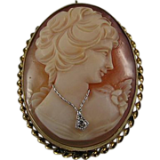 Vintage Habille Shell Cameo Brooch/Pendant with Diamond! Stunning!