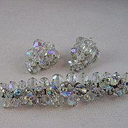 Clear AB Crystal Brooch and Earring Set - Simple but Wow