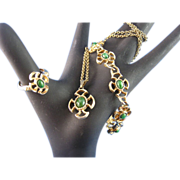 Vintage Avon Baroness Faux Jade Necklace, Bracelet  and Ring Suite