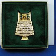 Vintage Avon Jeweled Owl Pin Perfume Glace with Original Box