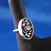 Vintage Rosamonde Silver Filigree Ring - Avon
