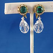Razzle Dazzle Emerald Green with Rhinestones & Crystal Teardrop Earrings