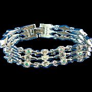 Retro Napier Elongated Diamond Shape Linked Rhinestone Bracelet