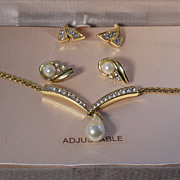 Vendome Faux Pearl Pendant Necklace with Earrings and Original Box