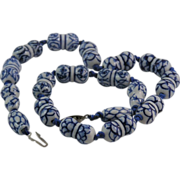 Vintage Chinoiserie Porcelain Necklace Chinese Export
