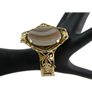 Repousse Style Banded Agate Clamper Bracelet