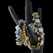 Amazing Blue Porcelain Glass Golden Book Chain Necklace Bracelet Earring Set