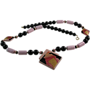 Japan Pink and Black Ceramic Necklace