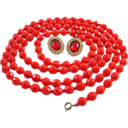 Fiery Coral Red Long Glass Bead Necklace with Earrings