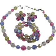 Pretty Fruit Salad Aurora Borealis Crystal Neckace, Bracelet and Earrings