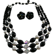 SOLD Vintage Triple Strand Black Glass Bead, AB and Faux Pearl Necklace and Earrings