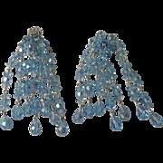 SALE Wow Factor Vintage Sherman Ice Blue Chandelier Earrings