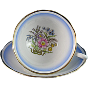 Royal Albert Footted Teacup and Saucer Pattern No. 7641, Hand Painted Blue Bow