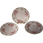Royal Crown Derby Pinxton Rose Set of Three Bread and Butter Plates