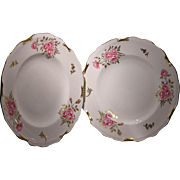 Royal Crown Derby Pinxton Rose Set of Two Dinner Plates