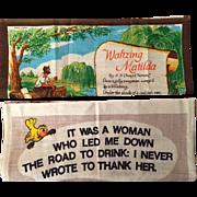 Vintage Australian Souvenir Linen Tea Towels - Waltzing Matilda and A Woman...