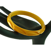 Reverse Carved Crescent Cream Corn Bakelite Bangle Bracelet