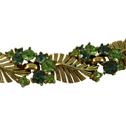 Glamorous Peacock Blue and Peridot Green Rhinestone Crown Trifari Bracelet