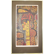 1971 Signed Hand Done Print Modernist Abstract Self Portrait  Beautiful