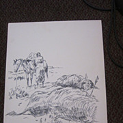 Thomas Mails Signed Listed Pen & Ink Indian Native American Buffalo Hunt