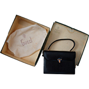 Gucci Vintage 1970s Lapis Clasp Black Lizard Clutch Original Box Nice