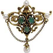 Renaissance Revival Emerald Cabochon and Pearl Brooch-Pendant