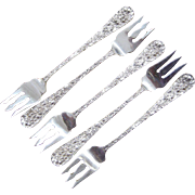 5 Stieff Rose Sterling Silver Cocktail Forks