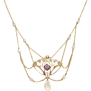 Stunning 14kt Gold, Amethyst and Pearl Art Nouveau Necklace