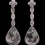 14 K White Gold, Reticulated Quartz, and Diamond Dangle Earrings