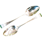 A Pair of Sterling Silver Serving Spoons in the Old English Pattern by Ann and ...