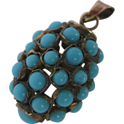 Etruscan Revival Copper with Turquoise Glass Ball Charm