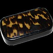 Charming Hand Painted Faux Tortoiseshell Snuff Box