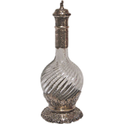 French Carved Crystal and Chased Sterling Silver Decanter